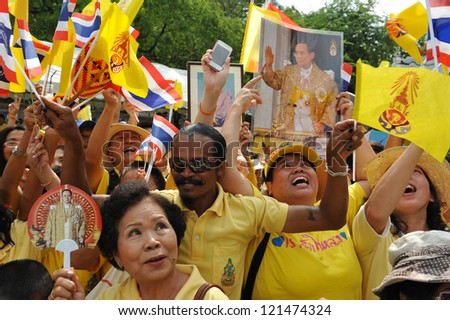 BANGKOK - DEC 5: Royalists celebrate the 85th birthday of Thai King Bhumibol Adulyadej while attending celebrations on the Royal Plaza on Dec 5, 2012 in Bangkok, Thailand.