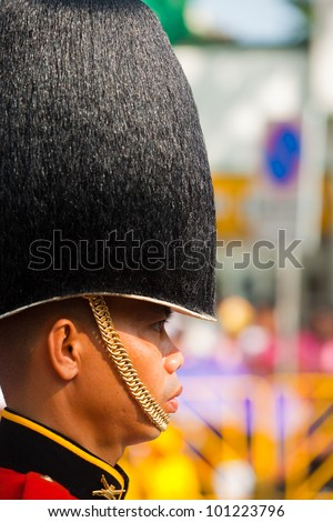 BANGKOK - DECEMBER 5, 2010: Profile of a member of the Thai royal guard military wearing a high fuzzy hat during the King's birthday parade on Dec. 5, 2010 in Bangkok