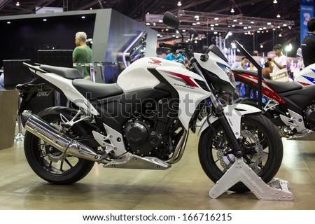 Bangkok - Decenber 3 : New Honda Motorcycle cbsoof with abs break at The 30th Thailand International Motor Expo on December 3, 2013 in Bangkok, Thailand