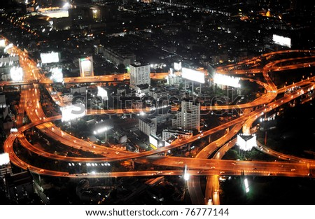 Bangkok Expressway and Highway, aerial view at night, Thailand