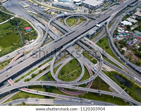 Bangkok Expressway top view, Top view over the highway,expressway and motorway at night, Aerial view interchange of a city, Shot from drone, Expressway is an important infrastructure in Thailand - Shutterstock ID 1120303904