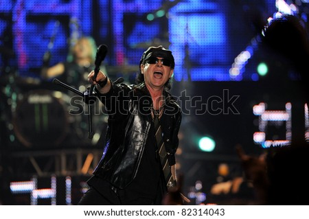 "BANGKOK- FEB 10:Vocalist Klaus Meine of the Heavy Metal band the Scorpions during Scorpions Live in Bangkok ""Farewell World Tour 2011"" at Impact Arena,Bangkok,Thailand FEBRUARY 10 2011."
