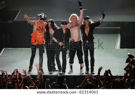 "BANGKOK- FEBRUARY 10:Scorpions perform Live in Bangkok ""Farewell World Tour 2011"" at Impact Arena,Bangkok,Thailand FEBRUARY 10 2011."