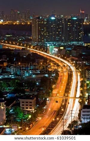 Bangkok Highway Top View at dusk in Bangkok, Thailand