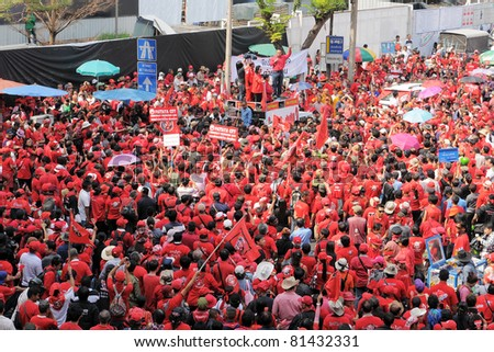 BANGKOK - JAN 23: Politician and red-shirt leader Jutaporn Prompan addresses supporters during a large anti-government rally at Ratchaprasong on Jan 23, 2011, in Bangkok, Thailand.