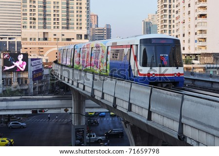 BANGKOK - JANUARY 7: BTS Skytrain on elevated rails in the city centre January 7, 2011 in Bangkok, Thailand. The rail network recently marked its 10th year of operations in the Thai capital.