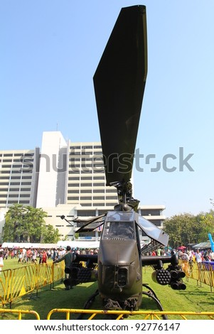BANGKOK - JANUARY 14 :Children's day, Royal Thai Army weapons of various types at the Thai Army Headquarters, Details part of military helicopters(Cobra), on January 14, 2012 in Bangkok Thailand.