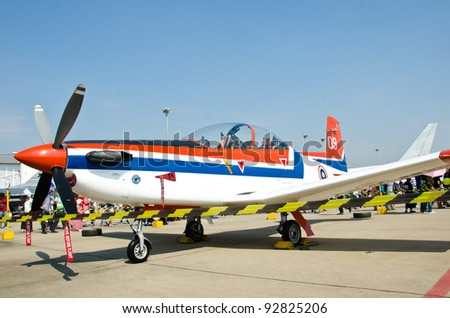BANGKOK - JANUARY 14 : PC-9 training aircraft.on display at Don Muang Airshow, January 14, 2012, Don Muang Airport, Bangkok, Thailand.