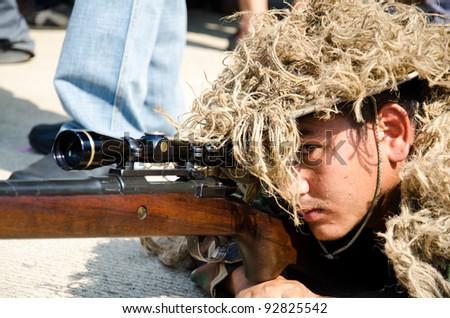 BANGKOK - JANUARY 14 : Sniper on display at Don Muang Airshow, January 14, 2012, Don Muang Airport, Bangkok, Thailand.
