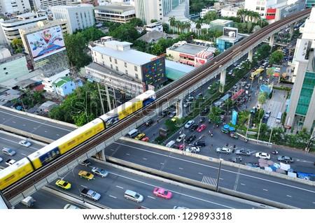 BANGKOK - JUL 20: BTS railway at Phloen Chit Station on Jul 20, 2012. The Bangkok Mass Transit System is an elevated transit system consisting of 32 stations along in Bangkok, Thailand.