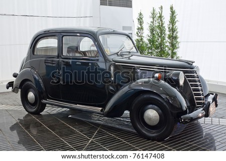 1949 Fiat 1100 E. stock photo : BANGKOK - JULY 17: Fiat 1100E,1949 Vintage cars on display