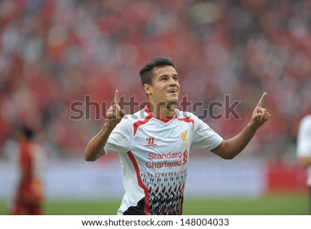 BANGKOK,JULY 28: Philippe Coutinho of Liverpool FC in action during Liverpool FC Tour 2013 Thailand between Thailand (R) and Liverpool (W) at Rajamangala Stadium on July 28, 2013 in Bangkok, Thailand.