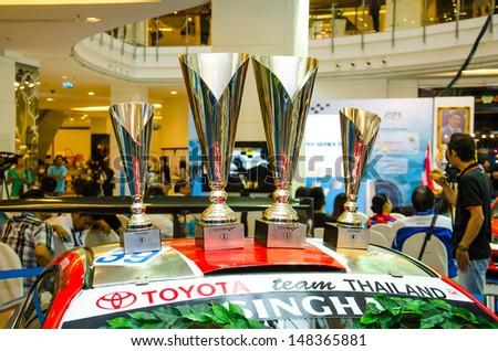 BANGKOK - JULY 31 :  Racing  car on Press conference of Flat race cars on display at Thailand Super Series 2013 on July 31, 2013 in Bangkok, Thailand.