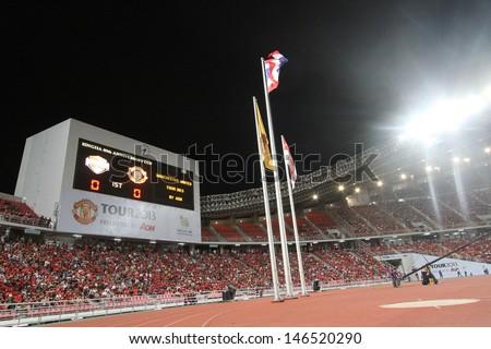 BANGKOK - JULY 13:Score board show the score on first half between Manchester United vs Singha All Star at Rajamangala Stadium on July 13, 2013 in Bangkok, Thailand.
