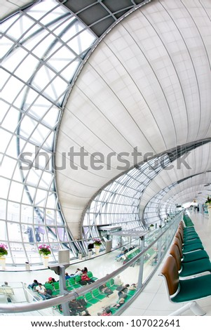 BANGKOK - JULY 1 :The main concourse of Suvarnabhumi Airport , designed by Helmut Jahn is the world's third largest single-building airport terminal on 1 July, 2012 in Bangkok ,Thailand.