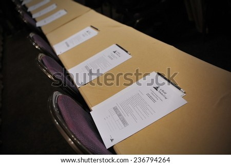 BANGKOK - JUN 22: Exam papers sit on tables before an academic competition held between schools in the southeast Asia region on Jun 22, 2012 in Bangkok, Thailand.