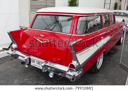 stock photo : BANGKOK - JUNE 23 :Chevrolet, Vintage cars on display in