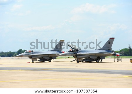 BANGKOK - JUNE 29 : F-16 Jet Fighter of Republic of Singapore Air Force show at 1912-2012 Centennial of Royal Thai Air Force, June 29, 2012, Don Muang Airport, Bangkok, Thailand - stock photo