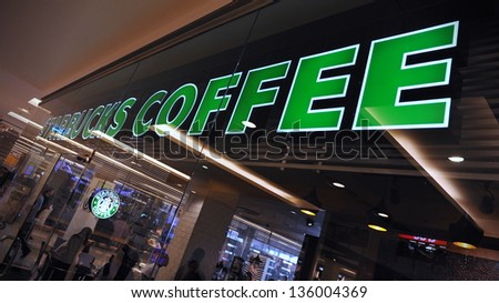 BANGKOK - MARCH 31: Exterior view of a Starbucks store in the city centre on March 31, 2013 in Bangkok, Thailand. Starbucks is the world's largest coffeehouse with over 20,000 stores in 61 countries.