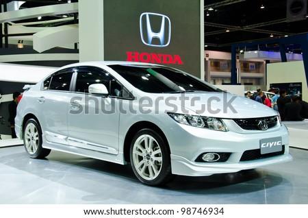 BANGKOK - MARCH 27: Honda Civic car on display at The 33th Bangkok International Motor Show  on March 27, 2012 in Bangkok, Thailand. - stock photo