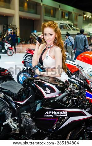 BANGKOK - MARCH 24: Honda motorcycle with unidentified model on display at The 36th Bangkok International Motor Show on March 24, 2015 in Bangkok, Thailand.