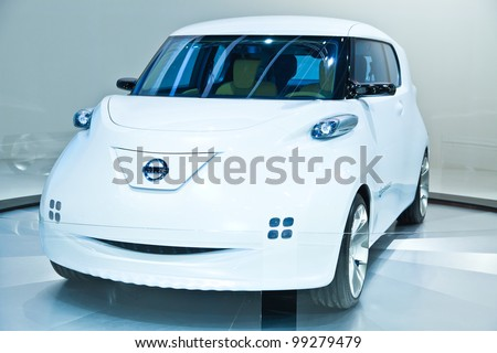 BANGKOK - MARCH 31: Nissan shows their Nissan Townpod Zero Emission concept car at the 33rd Bangkok International Motor Show at Impact Challenger on March 31, 2012 in Bangkok, Thailand. - stock photo