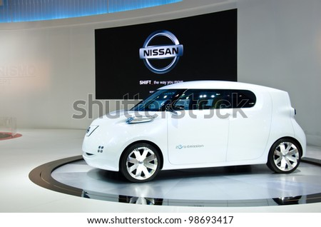 BANGKOK - MARCH 27: Nissan Zero-emission car on display at The 33th Bangkok International Motor Show  on March 27, 2012 in Bangkok, Thailand.