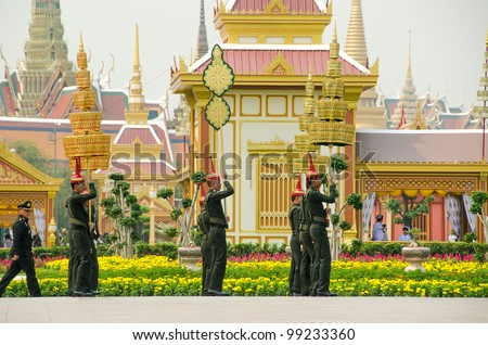 BANGKOK, MARCH 31: The full-dress procession rehearsal for the royal of cremation ceremony of HRH Princess Bejaratana Rajasuda in sanam luang on March 31,2012 in Bangkok, Thailand