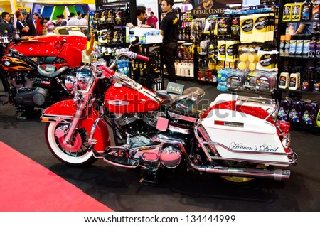 BANGKOK - MARCH 26 : The Harley-Davidson King of the Highway motorcycle on display at The 34th Bangkok International Motor Show 2013 on March 26, 2013 in Bangkok, Thailand.