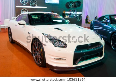BANGKOK - MAY 20: A 2011 Nissan GT-R sport car on display at the Super Car   Import Car Show at Impact Muang Thong Thani on May 20, 2012 in Bangkok, Thailand