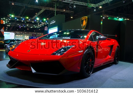 BANGKOK - MAY 20: Lamborghini Galardo sports car on display at the Super Car   Import Car Show at Impact Muang Thong Thani on May 20, 2012 in Bangkok, Thailand