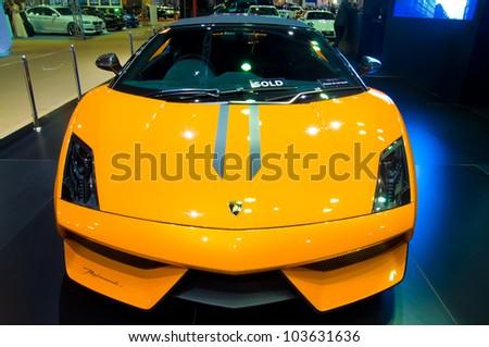 BANGKOK - MAY 20: Lamborghini Galardo sports car on display at the Super Car   Import Car Show at Impact Muang Thong Thani on May 20, 2012 in Bangkok, Thailand