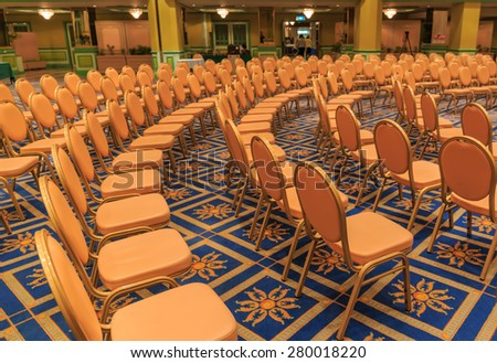 BANGKOK - MAY,21 : The row chair and desk are decorated for seminar every day at the hall of \