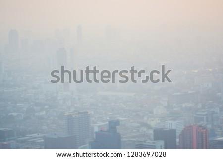 Bangkok Metropolitan Building Air pollution PM25 negatively impact health, Thailand #1283697028
