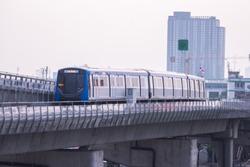 Bangkok MRT Train Blue line No.28 is running at Tha Phra Station. Translation: