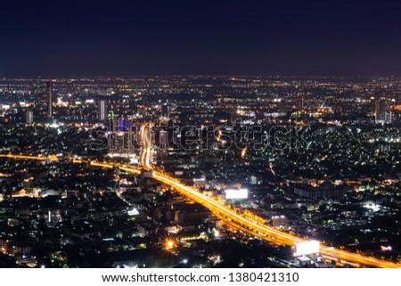 Bangkok night life, Bangkok cityscape, Bangkok night view in the business district. #1380421310