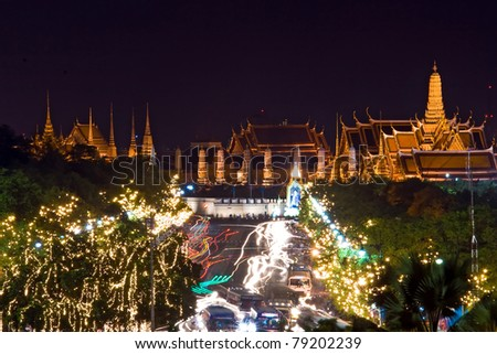 Bangkok Night view of Grand Palace or Wat Phra Keao Temple with light trail in Bangkok Thailand