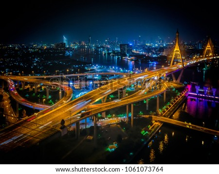 Bangkok Nightscape from across the Bhumipol Bridges. #1061073764