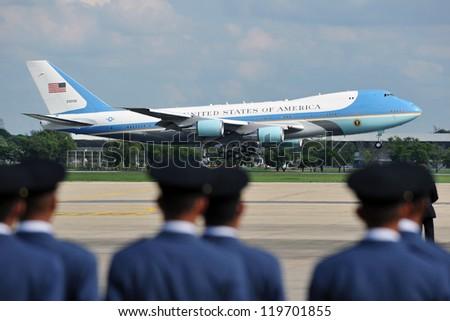 BANGKOK - NOV 18: Air Force One lands at Don Muang International Airport as US President Barack Obama begins a historic tour of Southeast Asia on November 18, 2012 in Bangkok, Thailand.