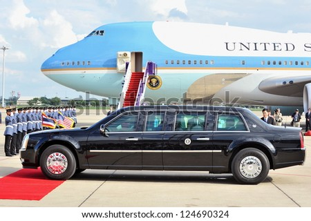 BANGKOK - NOV 18: US Presidential State Car waits by Air Force One on tarmac at Don Muang International Airport as President Barack Obama begins a SE Asia tour on Nov 18, 2012 in Bangkok, Thailand.