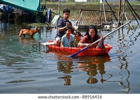 BANGKOK - NOVEMBER 16: flooded city on November 16, 2011 at Pathum Thani, Bangkok, which is the worst flood in the history of Thailand.