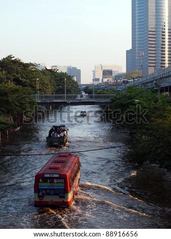 BANGKOK - NOVEMBER 9: flooded city on November 9, 2011 at Pathum Thani, Bangkok, which is the worst flood in 20 years.