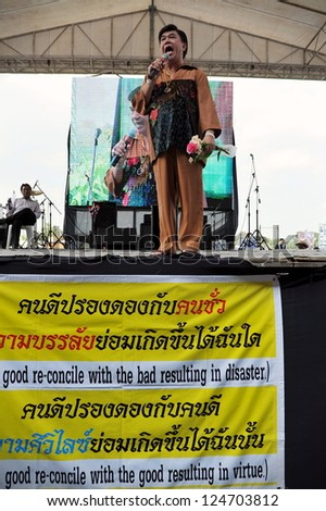 BANGKOK - OCT 28: Royalist Dr Seri Wongmontha gives a speech during an anti-government rally held by the nationalist Pitak Siam group at the Royal Turf Club on Oct 28, 2012 in Bangkok, Thailand.