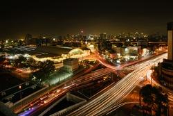 Bangkok Railway Station(Hua Lamphong Railway Station) at night Bangkok,Thailand. Long exposure, Night cityscape skyline concept.