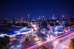 Bangkok Railway Station (Hua Lamphong Railway Station, MRT) in sunset, Bangkok, Thailand.Bangkok night skyline and cityscape. Hua Lamphong railway station aerial view with long exposure.