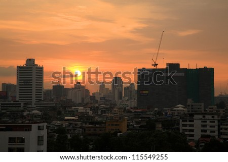 BANGKOK-SEP 28:Skyline sunset view at Din Daeng district in Bangkok, Thailand on September 28, 2012. Here has high population because of many buildings built for people by National Housing Authority.