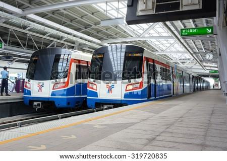 BANGKOK - Sep 21: The Bangkok Mass Transit System (BTS)  at a city centre station Sep 21, 2014 in Bangkok Thailand. The Thai capital's BTS rail public transport system serves 600,000 passengers daily