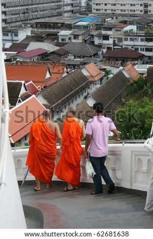 BANGKOK - SEPTEMBER 10: Buddhist monks at the golden mount temple on September 10, 2010 in Bangkok.