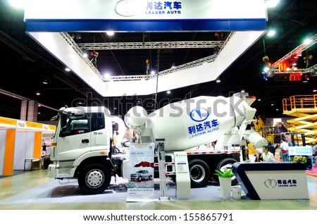BANGKOK - September 21 : HUMAN TX-3334 Concrete Mixer Truck on display at  Construction & Building Technology Week19-21 September 2013 IMPACT Exhibition Center on Sep 21, 2013 in Bangkok, Thailand.