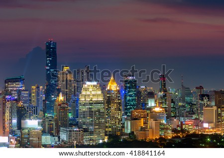 Bangkok skyline panorama before sunset, Thailand.